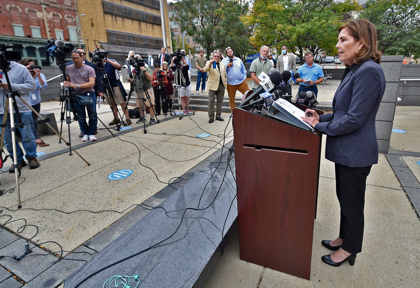 Delaware Attorney General Kathy Jennings announces the indictment of Delaware State Auditor Kathleen McGuiness on Monday afternoon outside the Leonard L. Williams Justice Center in downtown Wilmington.