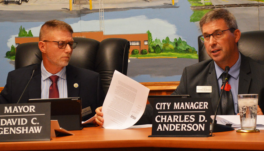 Seaford Mayor David Genshaw and City Manager Charles Anderson address legal challenges mounted Tuesday in opposition to a proposed ordinance about fetal remains following abortions.