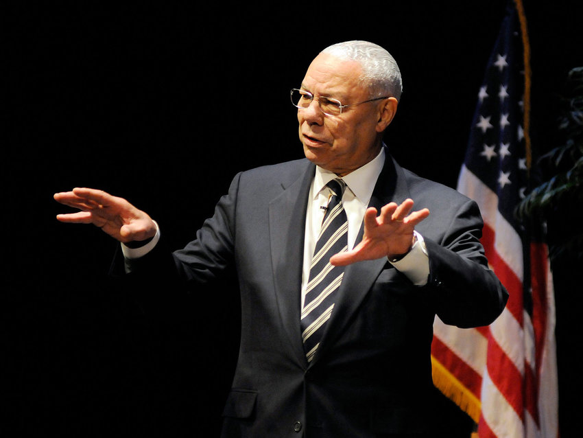 Gen. Colin Powell speaks to Worcester Technical High School students at the Hanover Theater for the Performing Arts on March 27, 2014.