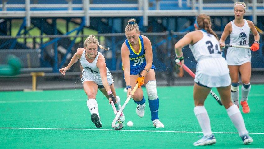 Delmar High grad Morgan Bradford tallied her first collegiate goal in No. 20 Delaware's 3-1 win over William & Mary in CAA field hockey on Sunday.