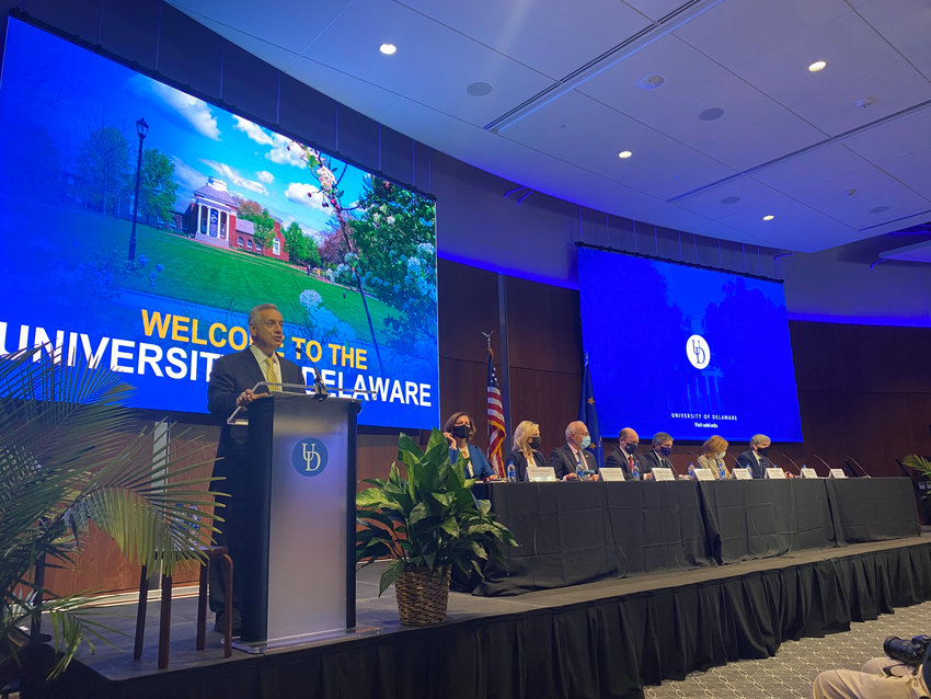 UD President Dennis Assanis starts off the panel on Transatlantic Relations and the Role of Higher Education on Star Campus in Newark.