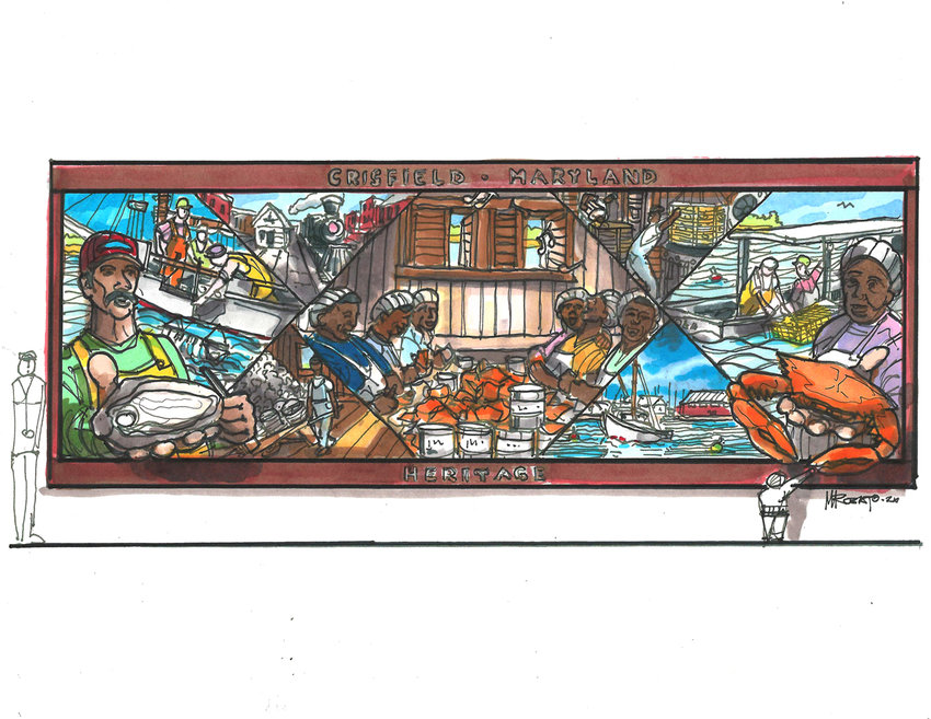 This early draft of the Crisfield mural also shows its scale. The final version will be unveiled to the public noon Friday, Nov. 5.