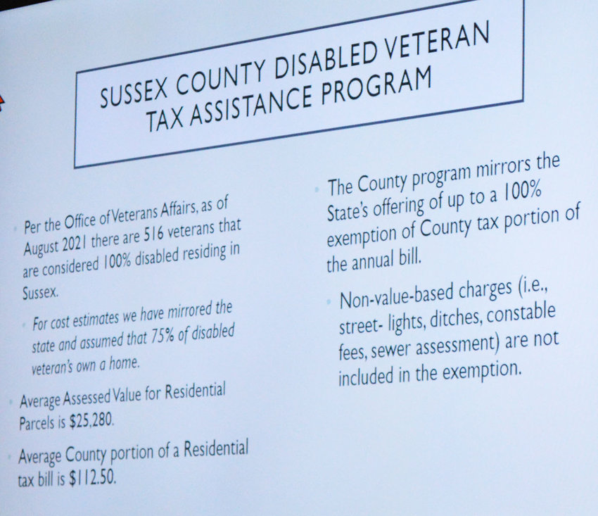 Sussex County is proposing an ordinance pertaining to totally disabled veterans being exempt from county property taxes if they meet certain criteria. The initiative mirrors Delaware's school tax exemption.
