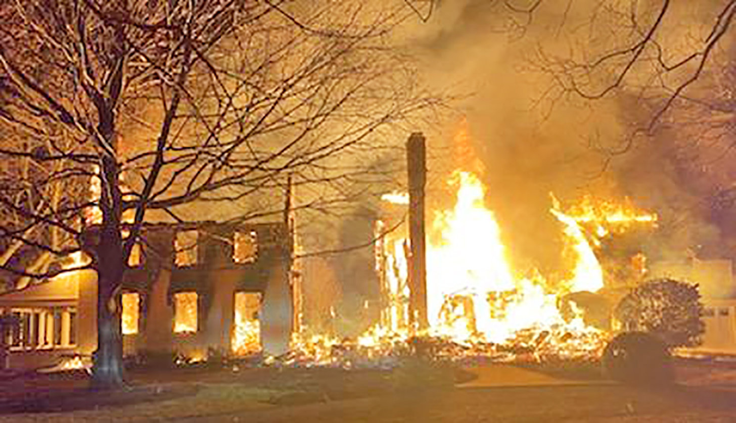 A historic home in Royal Oak was destroyed by fire, with a loss of millions of dollars.