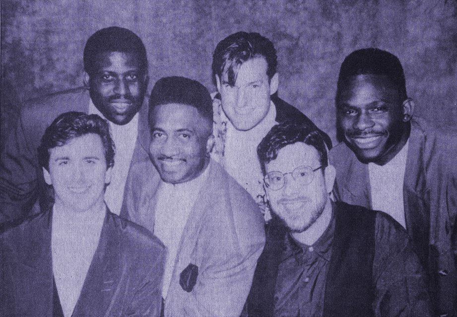 The current lineup of Mike Hines & The Look is shown with dancer Shawn Murray in the mid-1990s.