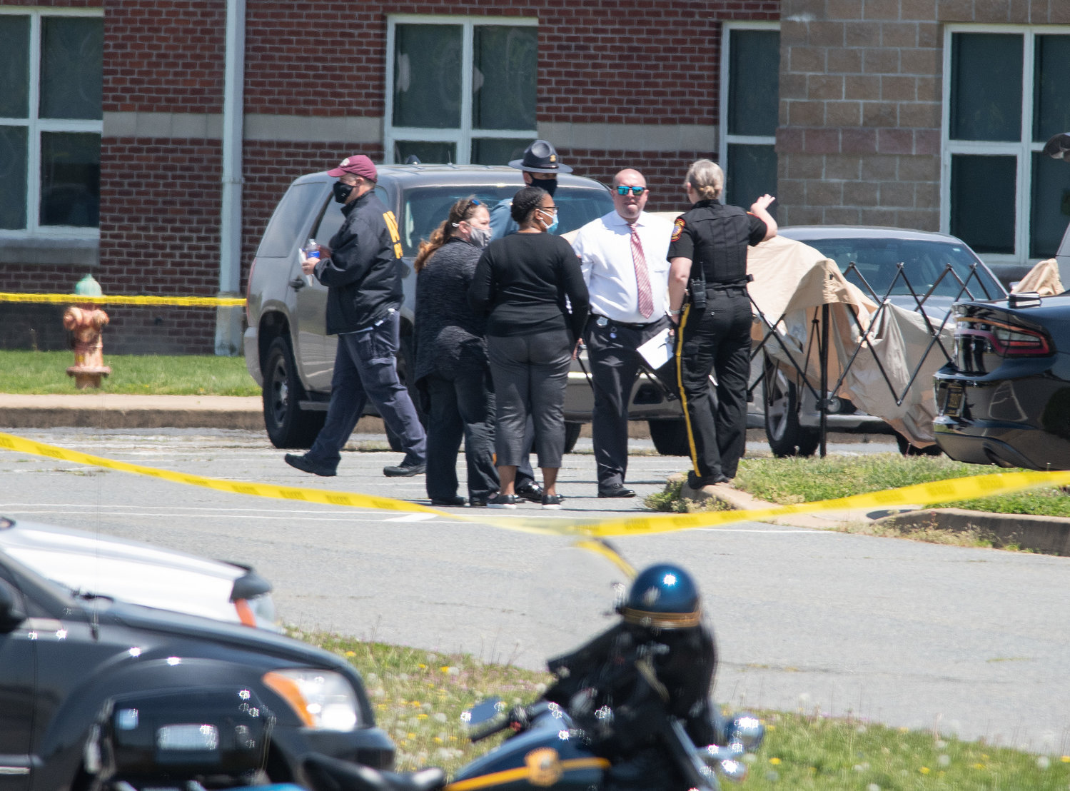 Smyrna Police and Delaware State Police investigate a murder after a women was shot and died in the front of the Middle School on Tuesday morning