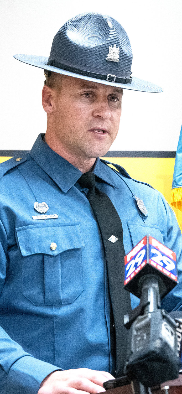 A Delaware State Police PIO Jason Hatchell during a press conference at Smyrna Police Station on Tuesday.