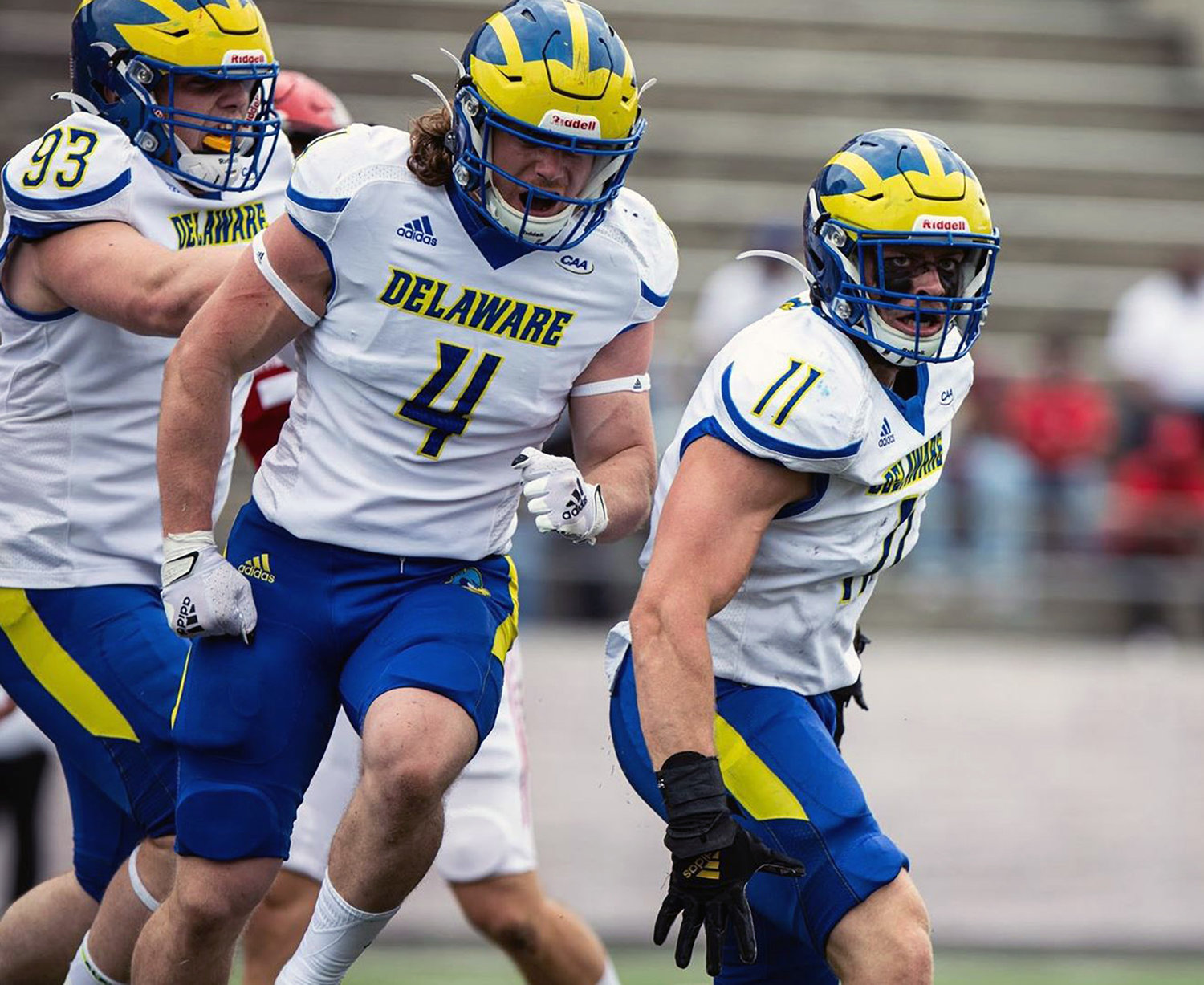 Delaware linebackers Liam Trainer (11) and Colby Reeder (4) celebrate a defensive stop in Sunday's 20-14 win at Jacksonville State.