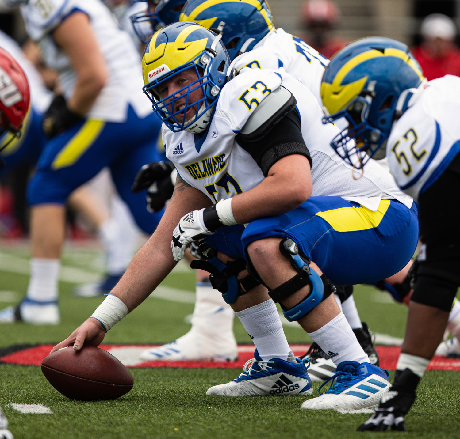 Starting center Mickey Henry had to leave Sunday's Delaware game when a back injury was re-aggravated.