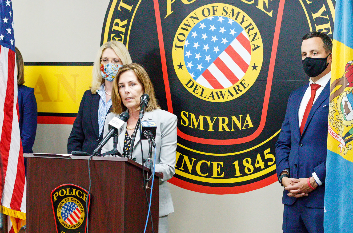 Attorney General Kathy Jennings, center, announces additional charges against Kristie Haas on Tuesday, with Deputy Attorney General Kathleen Dickerson and Chief Deputy Attorney General Alexander Mackler. Ms. Haas was additionally indicted on two counts of child abuse by murder or neglect in connection with the death of her 3-year-old daughter, Emma Grace Cole, whose body was found in Smyrna in September 2019.