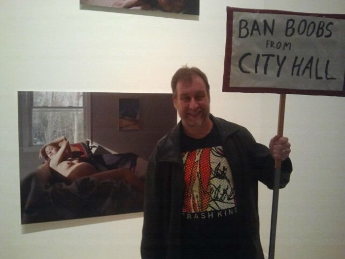 That is the husband of Folio Weekly's sales manager, protesting Clay Yarborough at MOCA.
