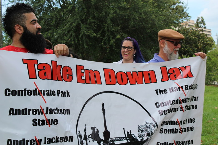 Groups gathered in Confederate Park to advocate removing monuments to the Confederacy from public lands