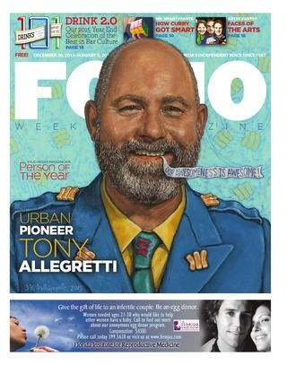 Tony Allegretti gracing the cover of Folio Weekly (Dec. 2015). Painting by Jeff Whipple.