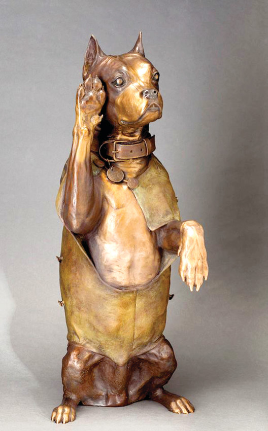 A Life-sized statue of Sgt. Stubby, by artist Susan Bahary.