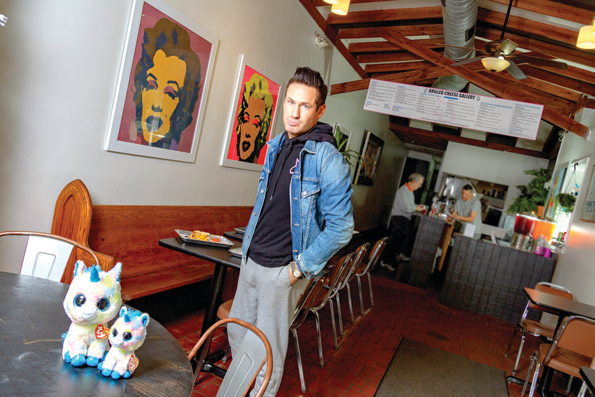 Jeffrey Thompson and his unicorns preside over The Grilled Cheese Gallery