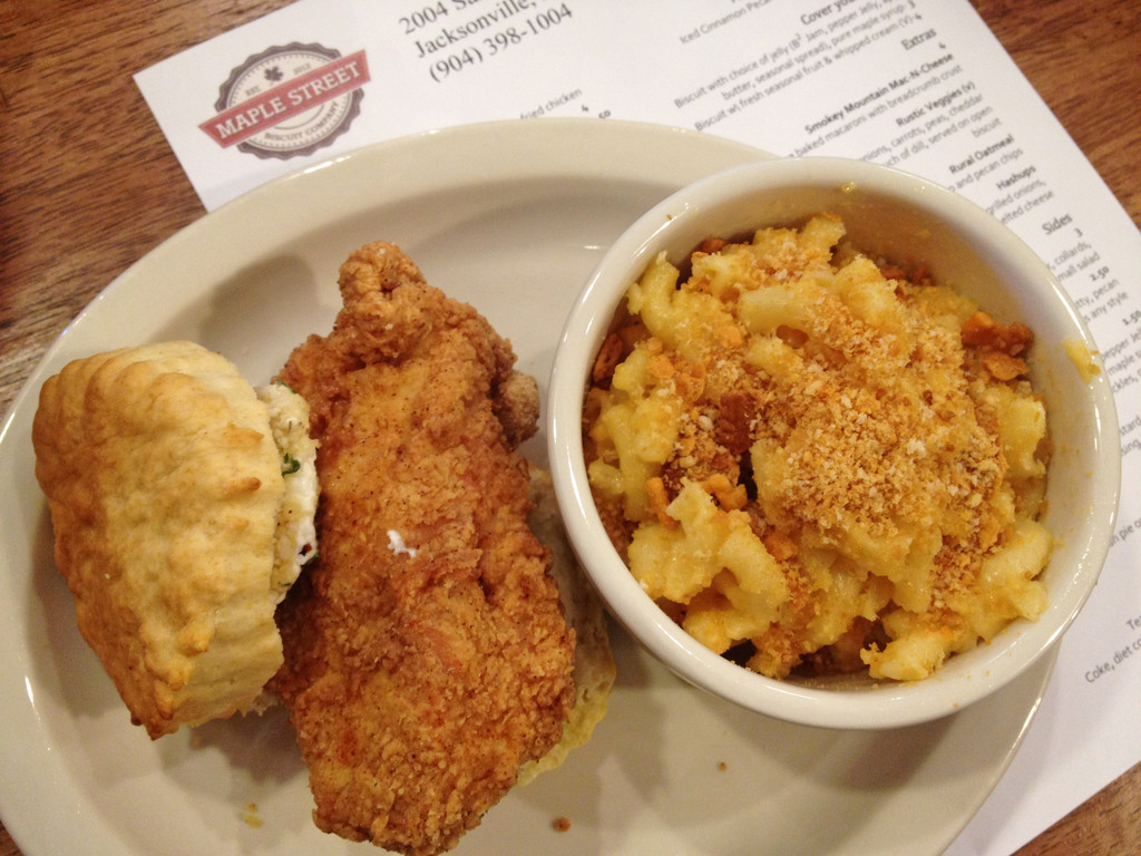 The Loaded Goat (with a side of Smoky Mountain Mac-N-Cheese) includes a generous piece of moist fried chicken topped with a creamy fried goat cheese medallion.