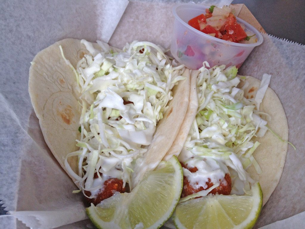 Lupe's famous Baja fish tacos are panko-crusted and lightly fried.