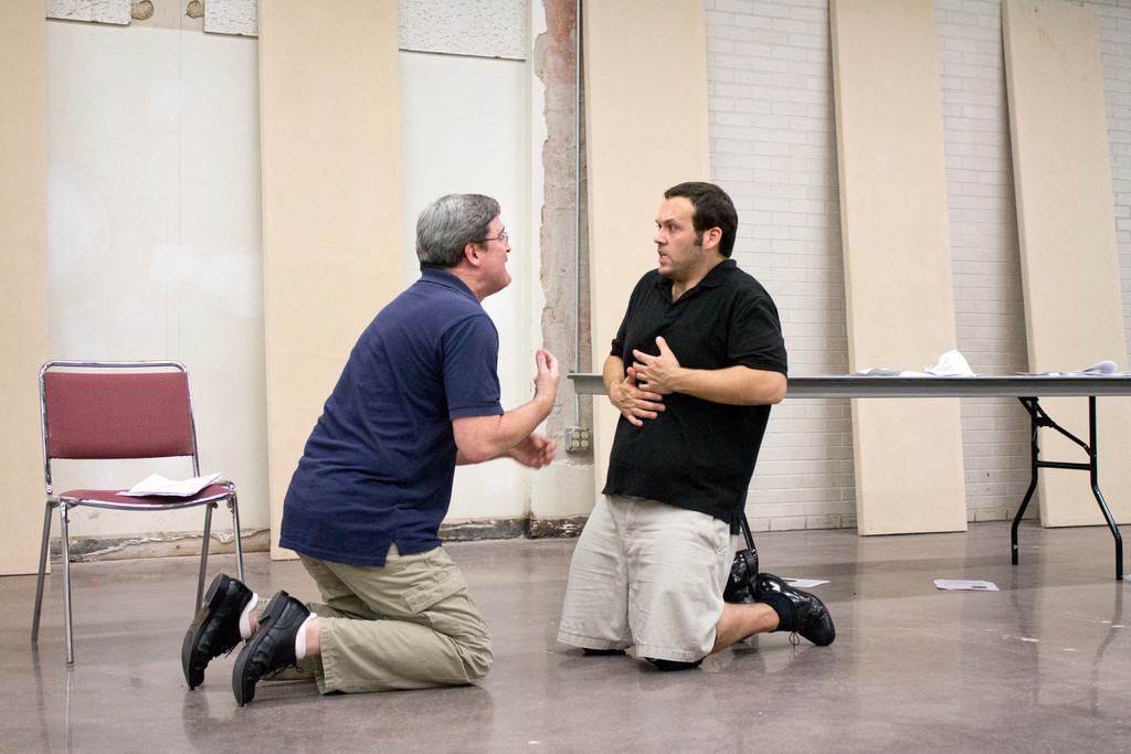 "Bill Ratliff plays Salieri and Erik DeCicco portrays Mozart during rehearsals of ""Amadeus"" in February."