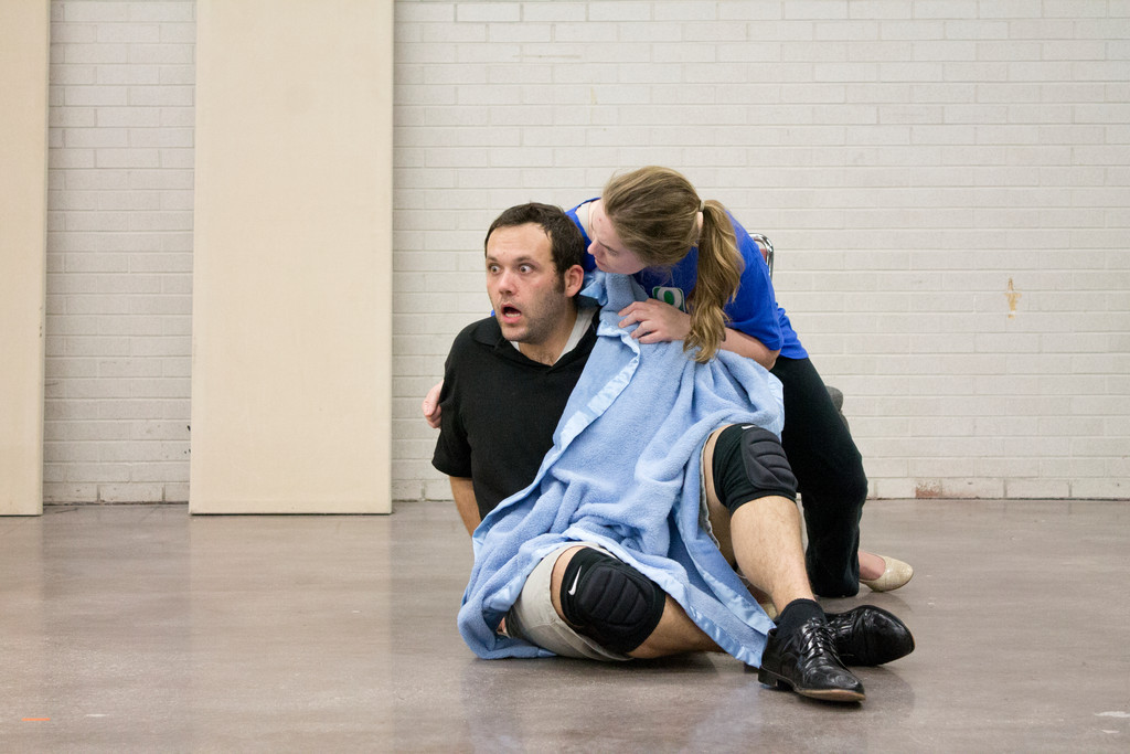 "Constanze (Kelby Siddons) comforts her husband, Mozart (Erik DeCicco), during rehearsals of ""Amadeus"" in February."