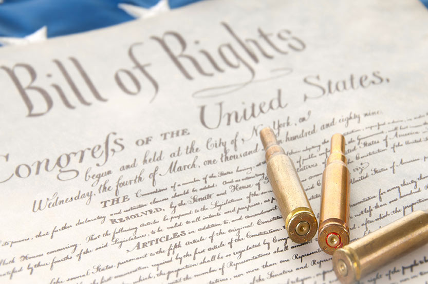 The image portrays the Bill of Rights with focus on the Second Amendment