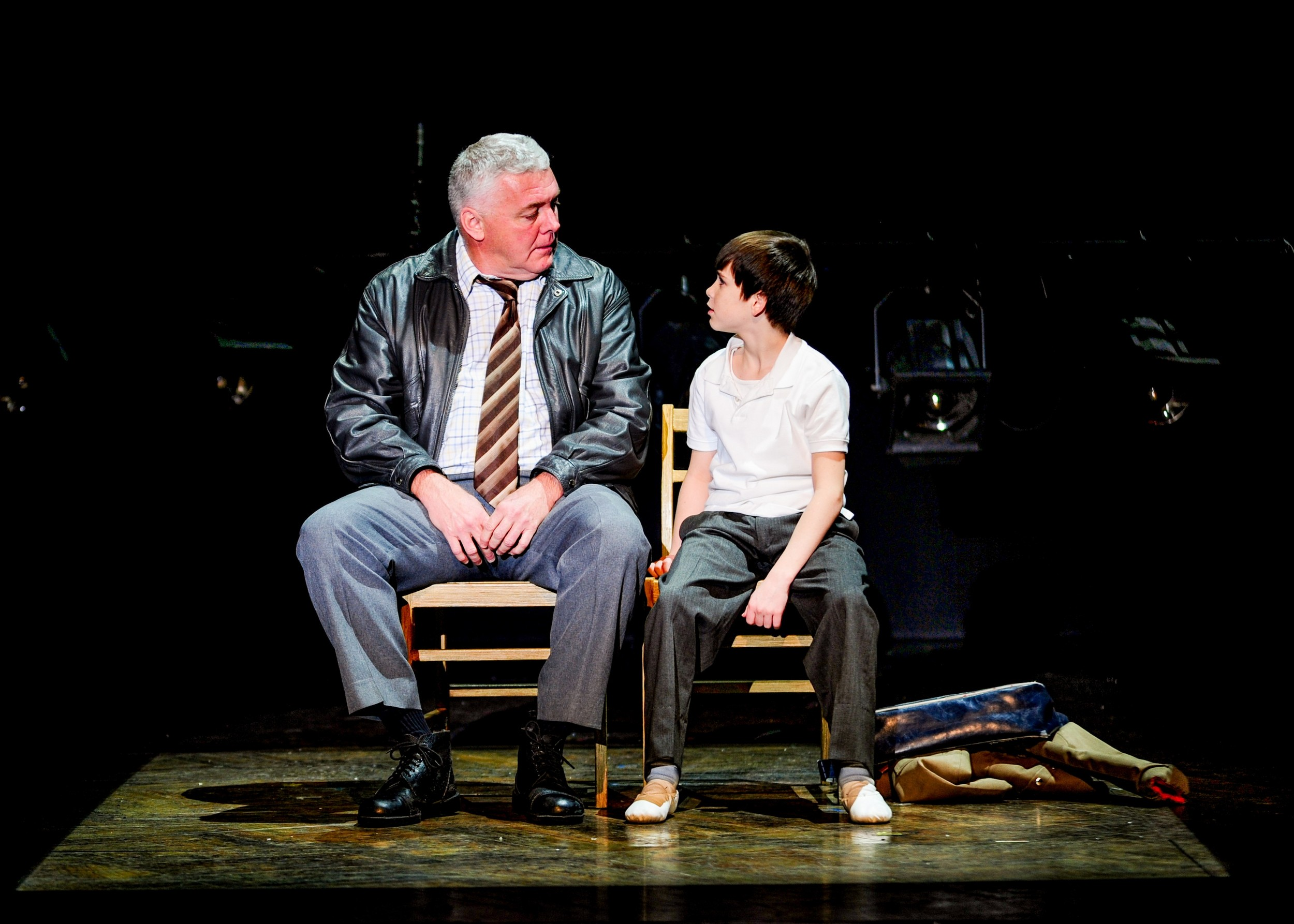 "Rich Hebert (Dad) and Mitchell Tobin (Billy) in ""Billy Elliot the Musical."""