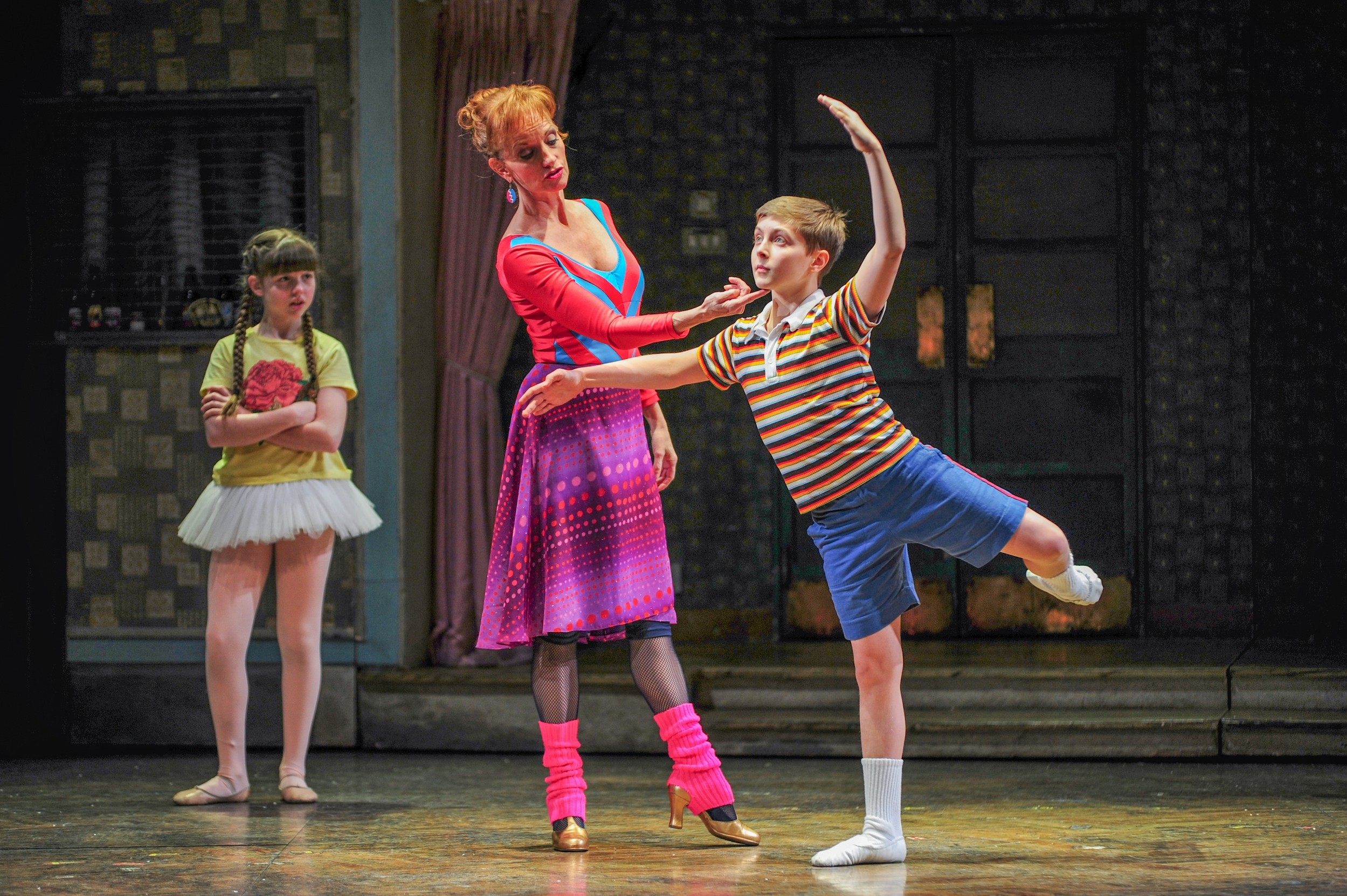 "Samantha Blaire Cutler (Debbie), Janet Dickinson (Mrs. Wilkinson) and Noah Parets (Billy) in ""Billy Elliot the Musical."""