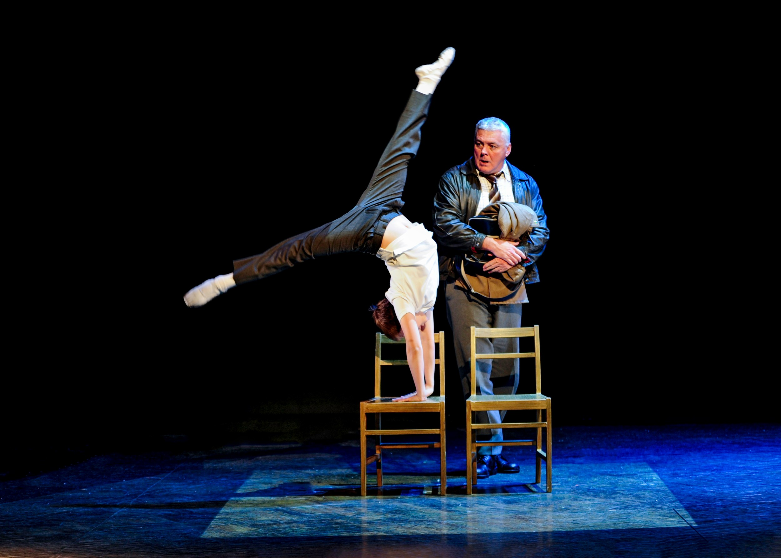 "Noah Parets (Billy) and Rich Hebert (Dad) in ""Billy Elliot the Musical."""