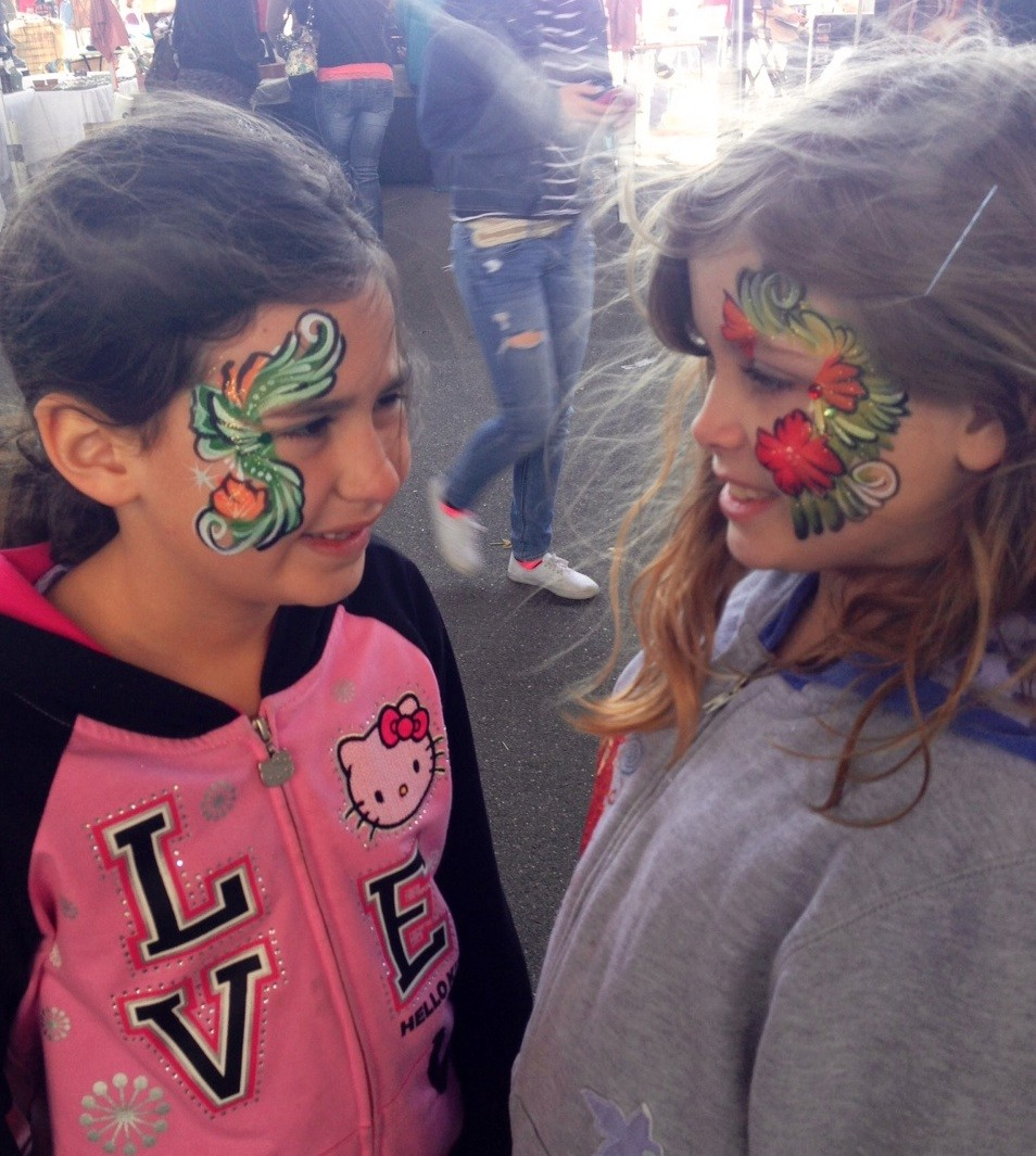 Amelia and Vanessa look Broadway-ready in this fancy face paint. FUN FACT: The most popular face painting designs for girls are fantasy, princess and butterflies.