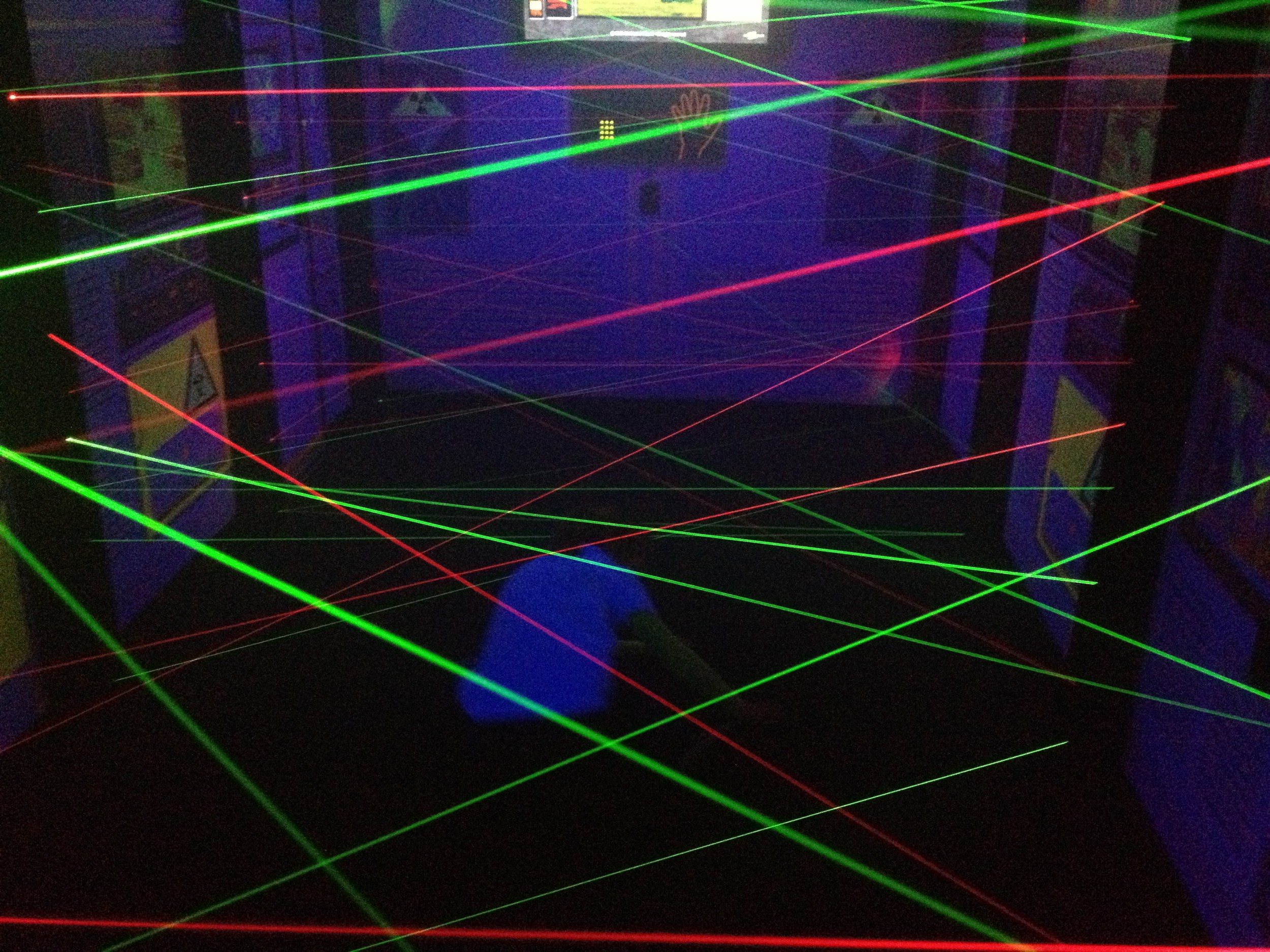 If you've ever wondered if you could maneuver through a room of laser beams to steal a precious diamond or silver briefcase full of plutonium, The Launch Lazer Maze Contest may be your only opportunity—without risk of arrest. I completed half of the course in 1:48 with 12 beams broken. Two words: mission impossible.