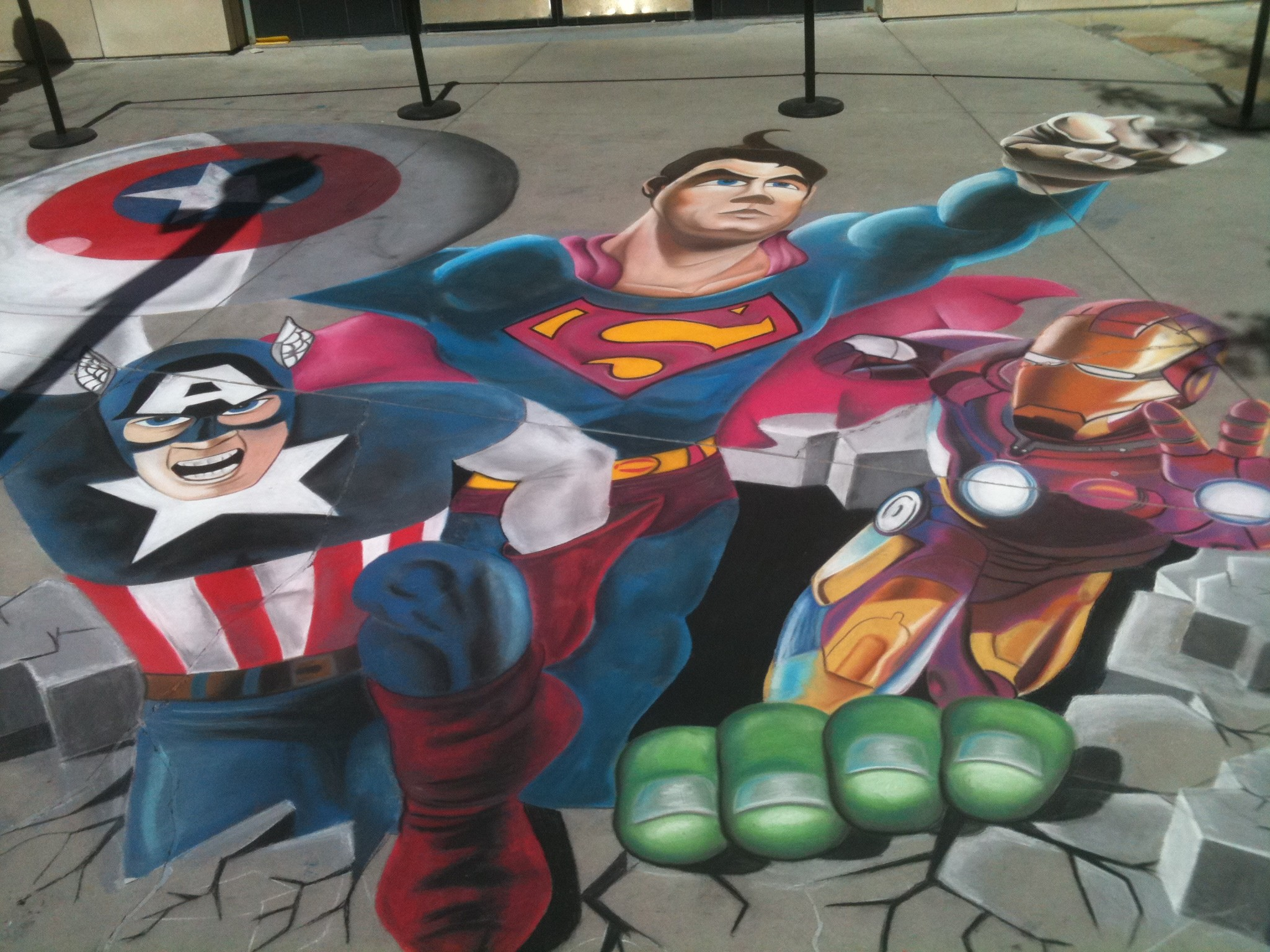 "Lee Jones contributed to this group piece, ""Foster Parents are the Real Super Heroes"" (20 feet x 16 feet), at a Salt Lake City nonprofit event."