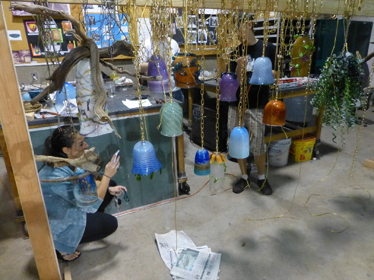 Jacksonvile University glass students work on lighting for the Cummer Ball.