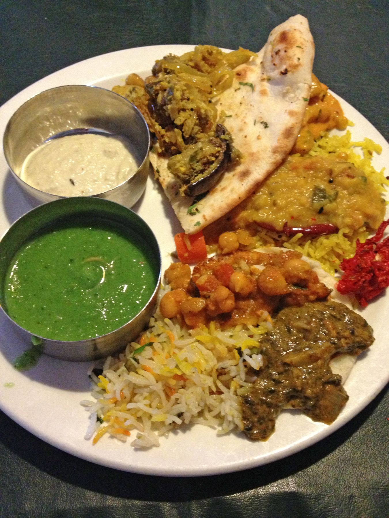You can experiment with a small helping of everything from the bountiful Indian buffet lunch at 5th Element — items range from vegetarian dishes to lamb and goat, with flavors from mild to extremely spicy.