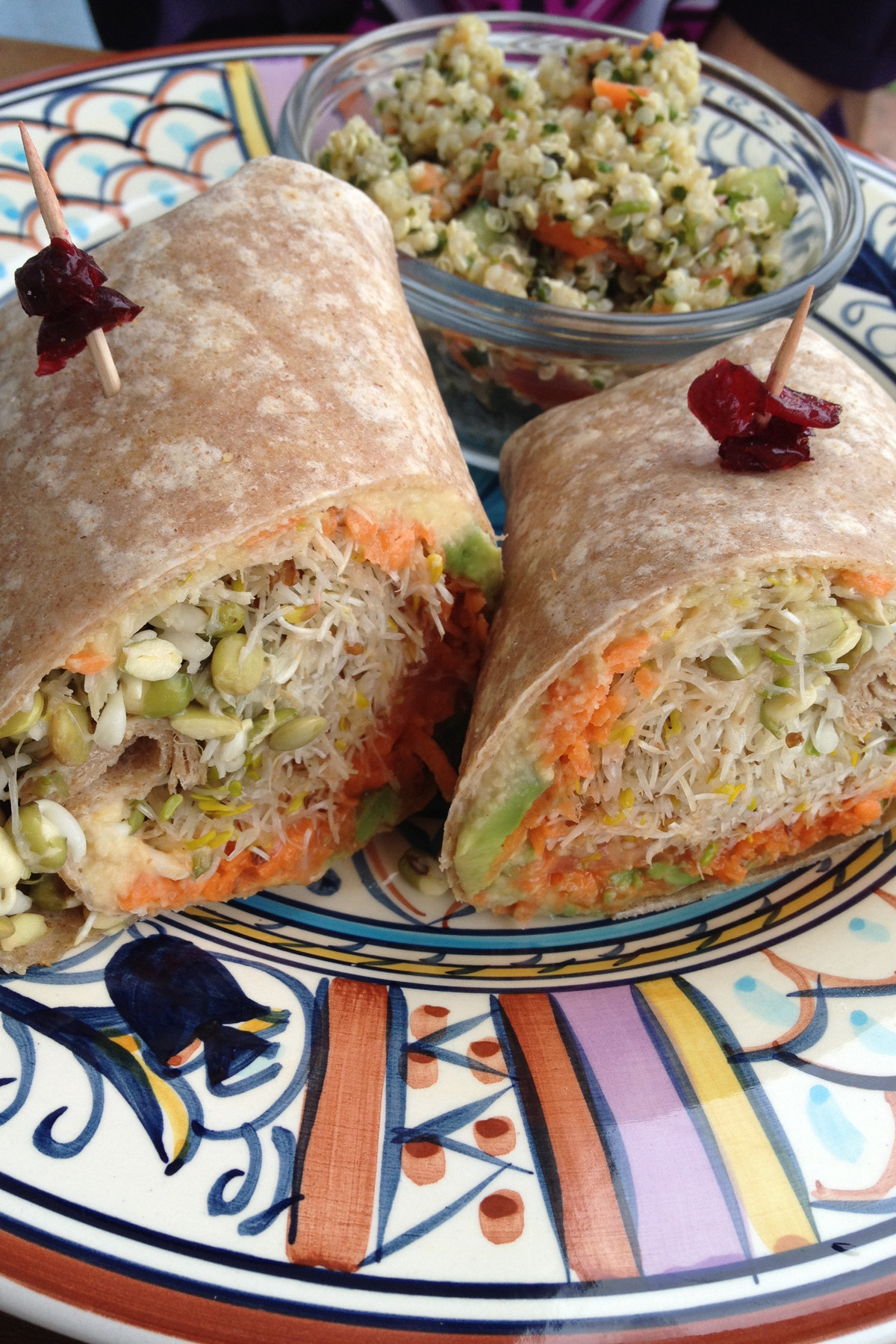 At Delicomb, you'll find menu standouts like this vegan wrap with avocado, hummus, carrots, sprouts and miso sesame dressing in a whole wheat wrap.