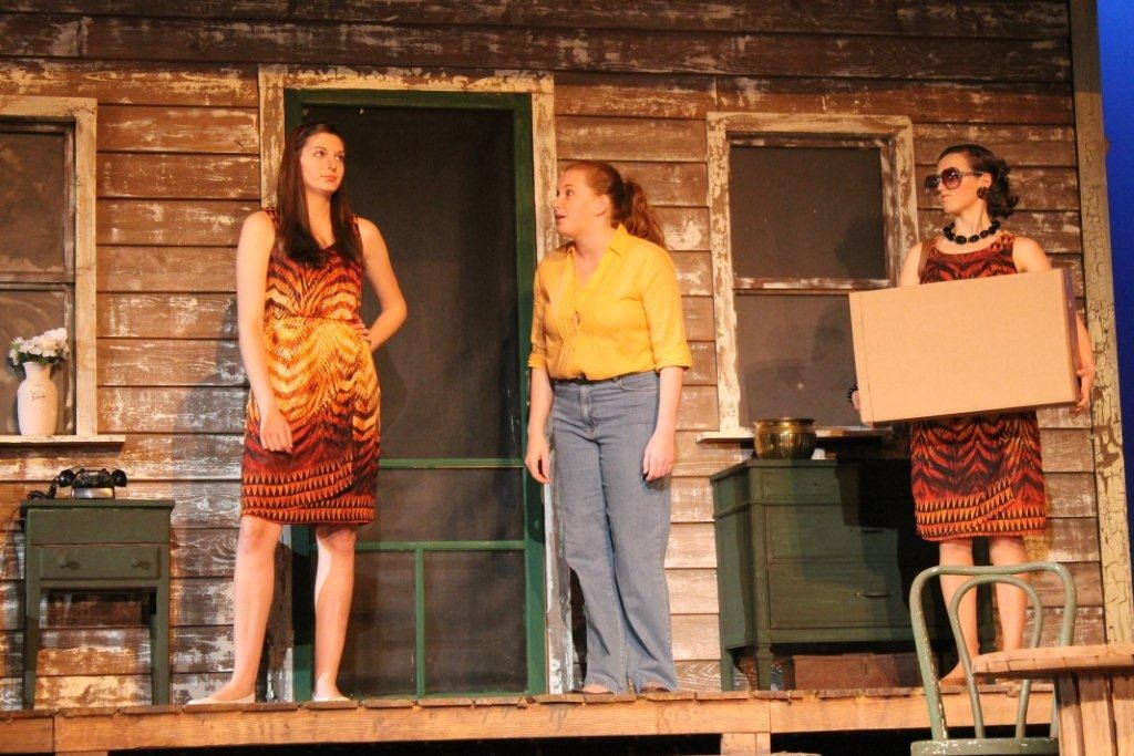 "Laundry -- From left, Jacksonville University students Katarina Howell (from left), Ashley Jones and Elaine Tyson star in the JU College of Fine Arts' Division of Theatre & Dance production of ""Laundry & Bourbon."""
