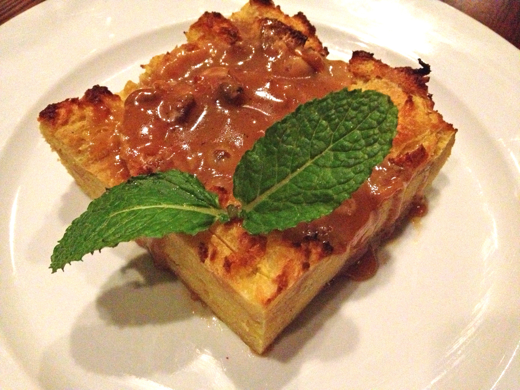 Bread pudding, with a buttery caramel sauce, is solid.