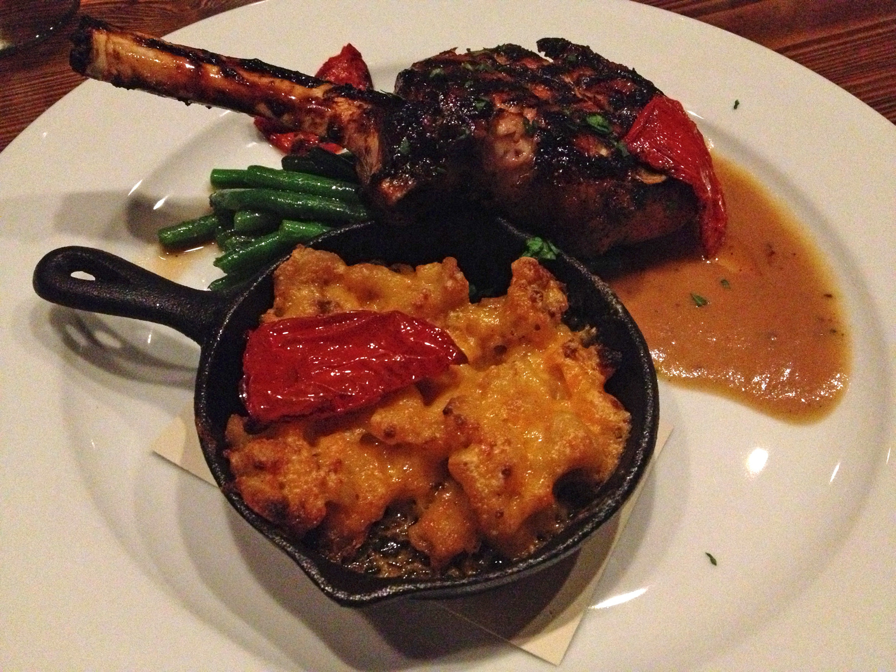 The grilled pork chop with red pepper jelly glaze and smoky mac 'n' cheese is good, but it didn't steal my heart.