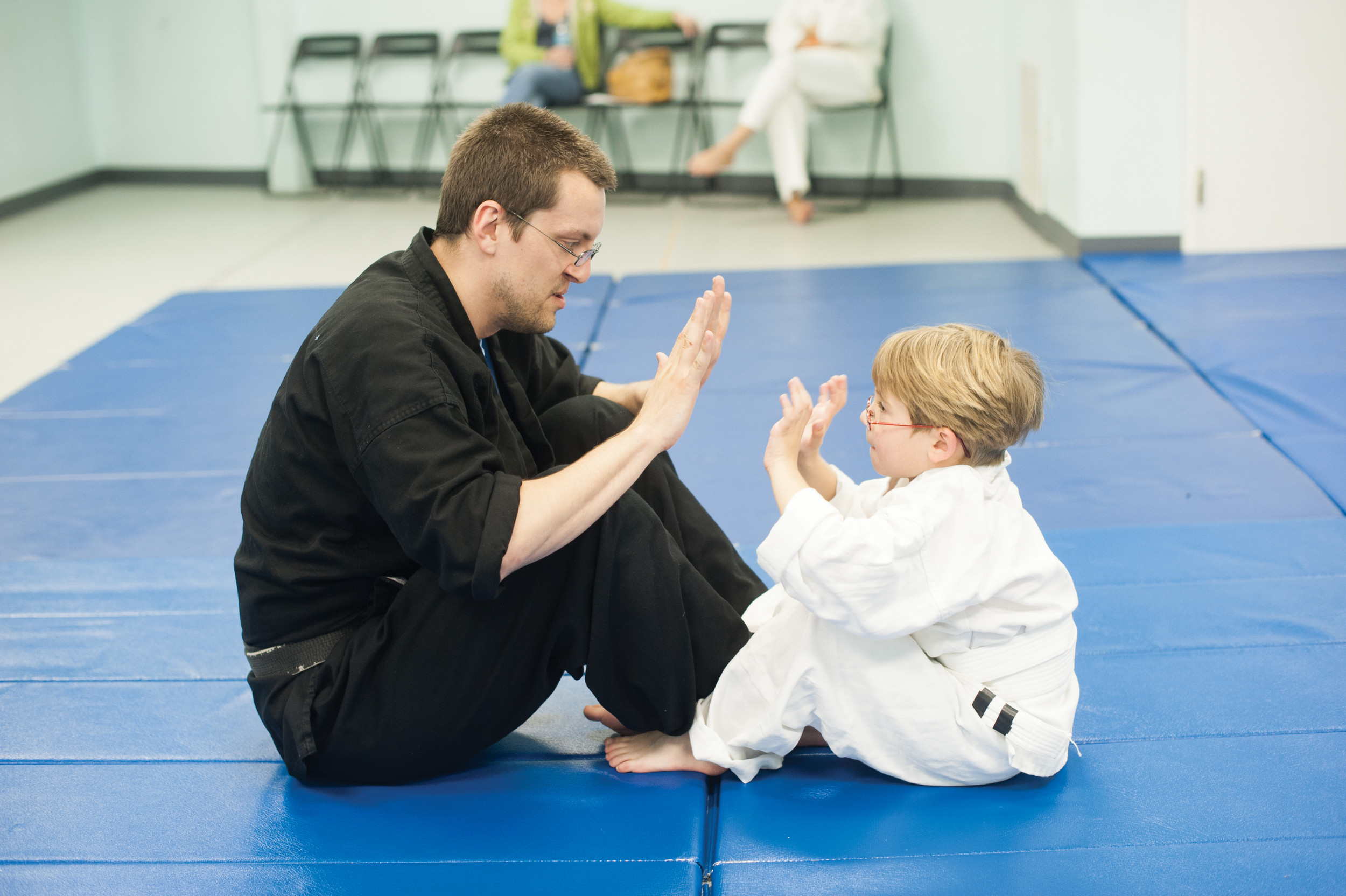 Robert Ingram (pictured with Elliot Beckhart), who was bullied as a child, launched Alpha Dogs Martial Arts and said karate can give youngsters the confidence they need to avoid being bullied.