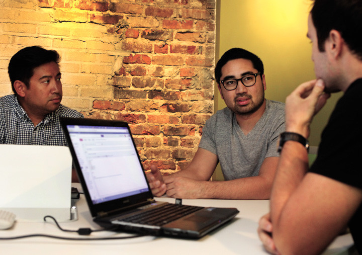 Varick Rosete (left) and Dennis Eusebio hatched the idea for One Spark with Elton Rias during a meal at a local sandwich shop in July 2011.
