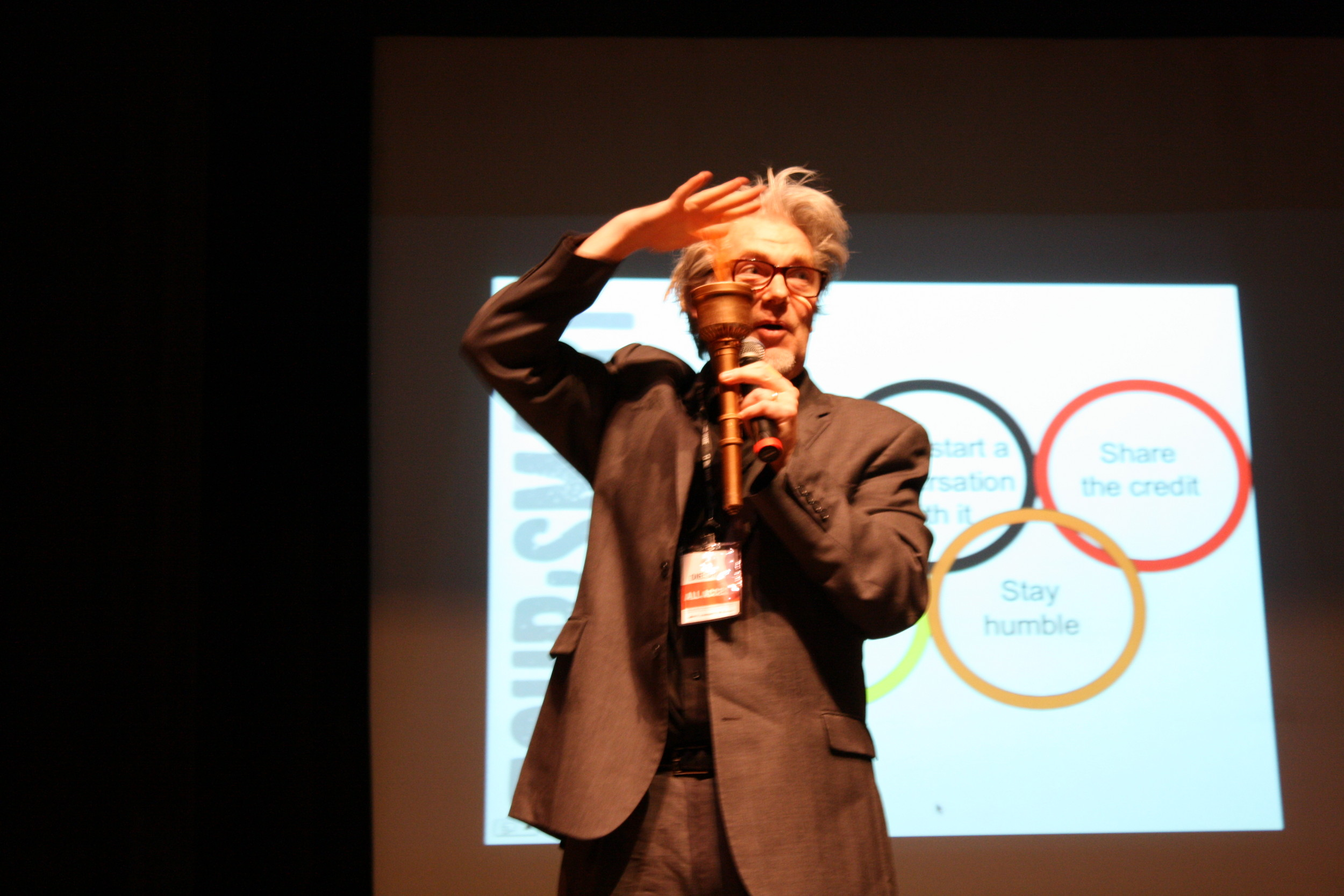 Martin Atkins during a portion of his talk, �Welcome to the Music Business. You�re F*CKED!�