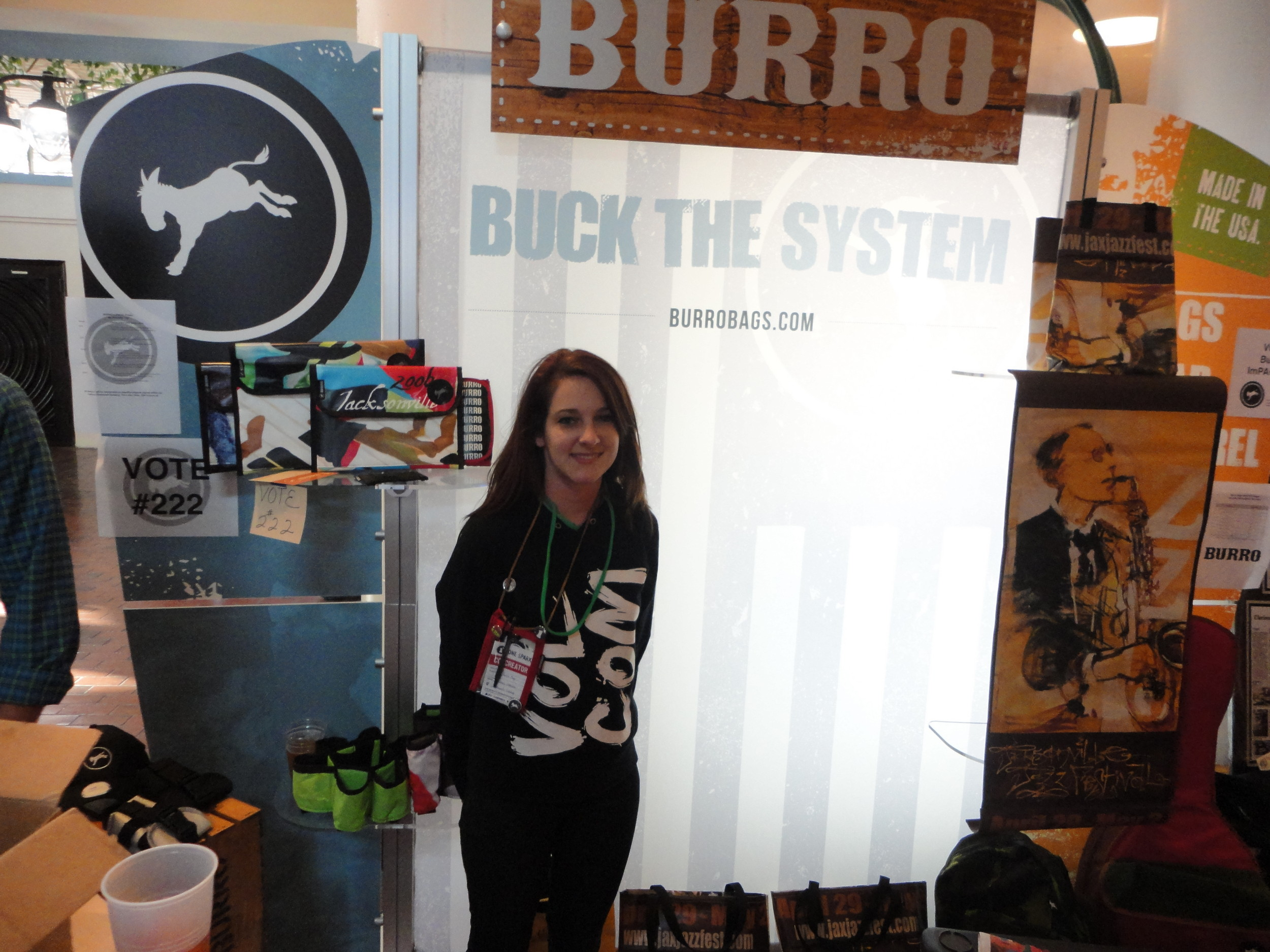 Meghan Brown displays Burro Bags ImPACKt line