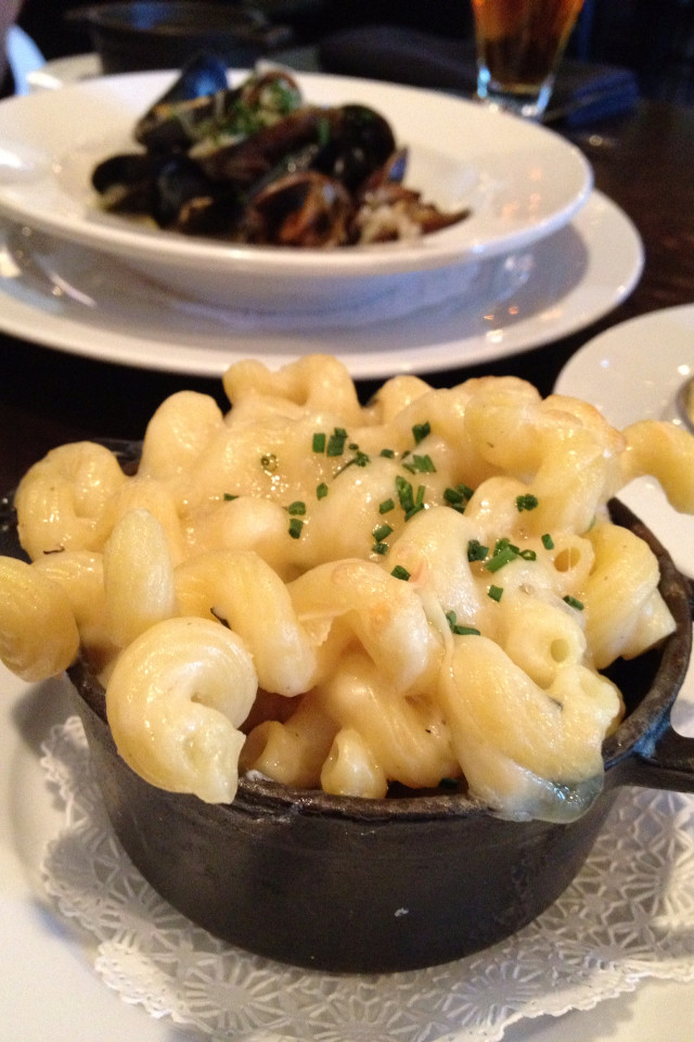 Get your hands on an order of earthy truffle cavatappi-shaped mac 'n' cheese (serv