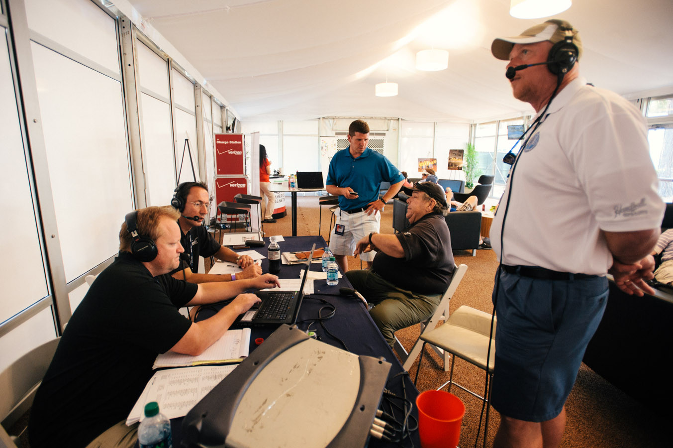 The on-air personalities at 1010xl, Rick Ballou, Frank Frangie, Brent Martineau, David Lamm and Mike Dempsey, broadcast from Club 1791 near the 11th green.