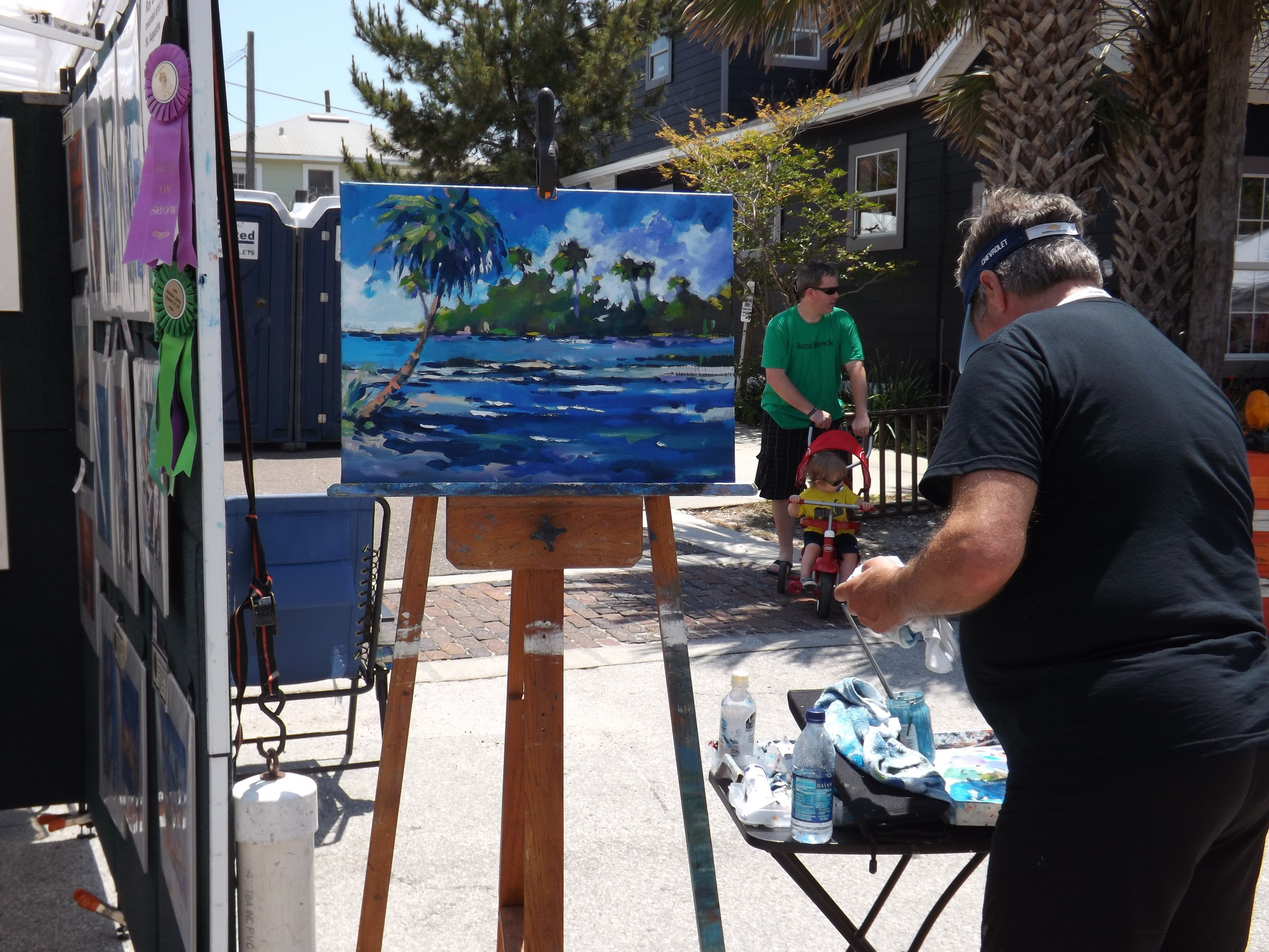 Artist Ray Brilli doing on-scene oil painting