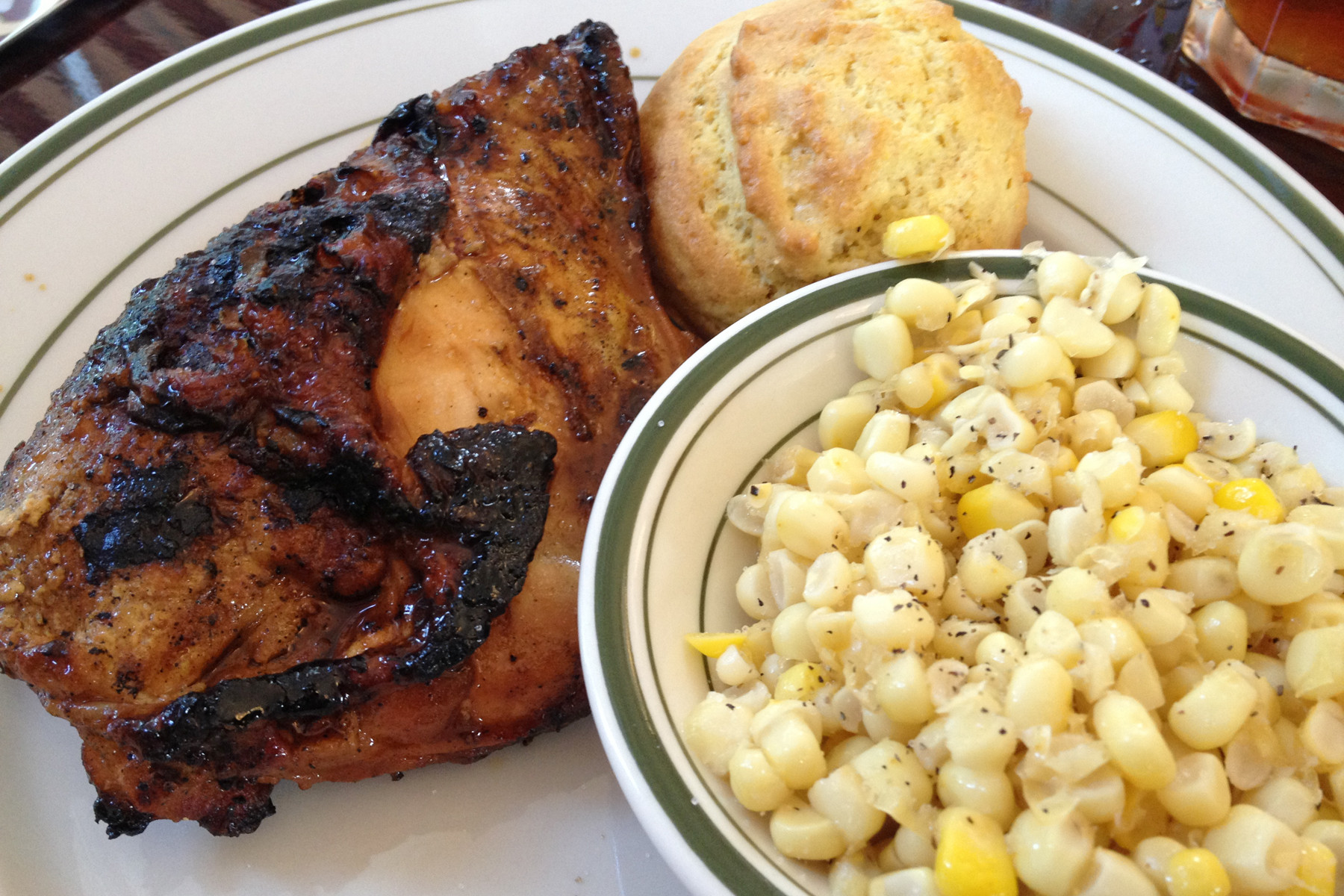 The bone-in barbecue chicken breast with cornbread and knife-cut corn is divine.