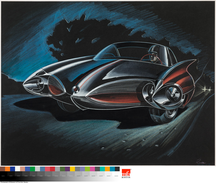 """Two Door Sports Car,"" colored pencil on black paper by Elia Russinoff, is among the works on display in ""Future Retro: The Great Age of the American Automobile."" The exhibit is on display at the Cummer Museum of Art & Gardens through Sept. 8."