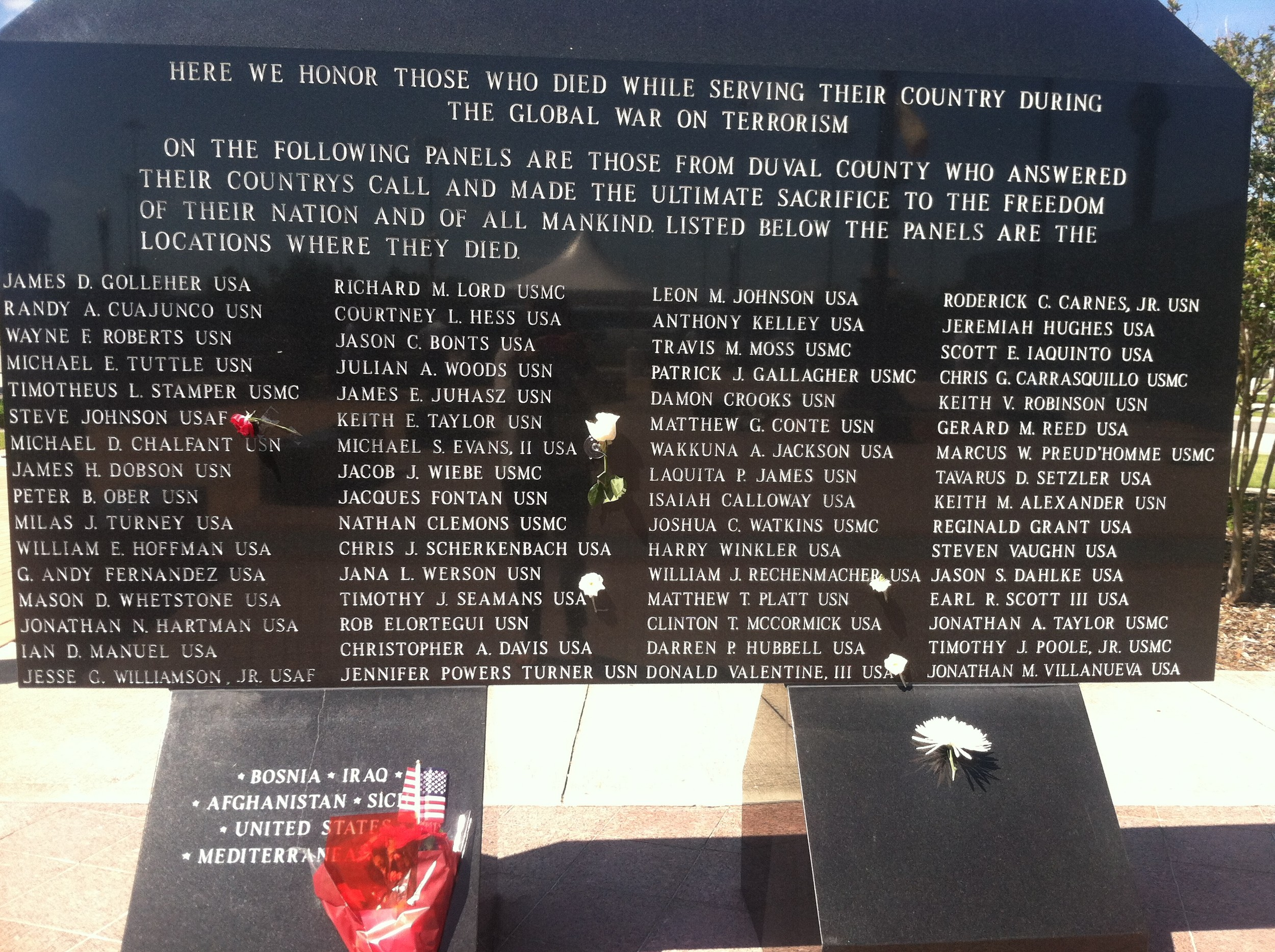 One of the walls honors those who died during the Global War on Terrorism.