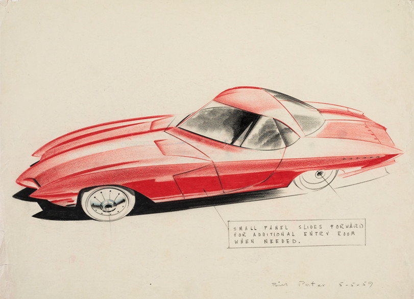 """L-SE 1046.1.30"": Elia Russinoff (born in 1930), Design Proposal: Two Door Sports Car, 1953, Colored pencil on black paper, from ""Future Retro"" at the Cummer Museum of Art & Gardens"