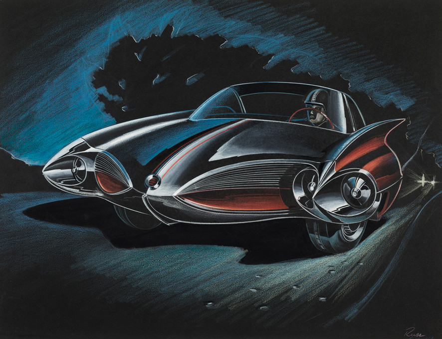 """L-SE 1046.1.26"": William (""Bill"") Porter (born in 1931), Design Proposal: Red GM Sports Car, 1959, Graphite pencil and colored pencil on paper, from ""Future Retro"" at the Cummer Museum of Art & Gardens"