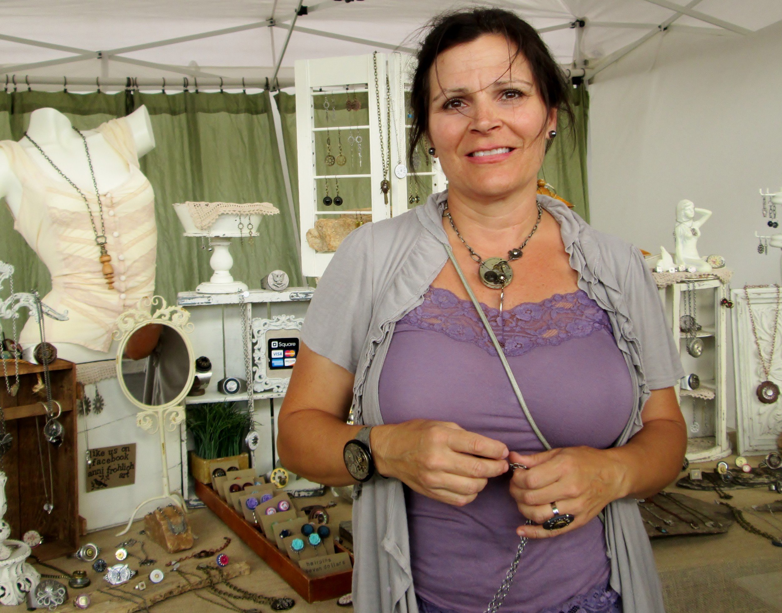Anni Frolich sells her unique jewelry.