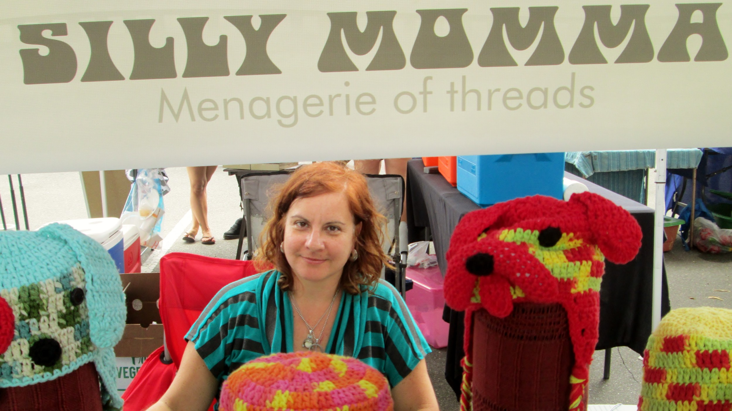 Lucina Horta sells her handmade knitted accessories.